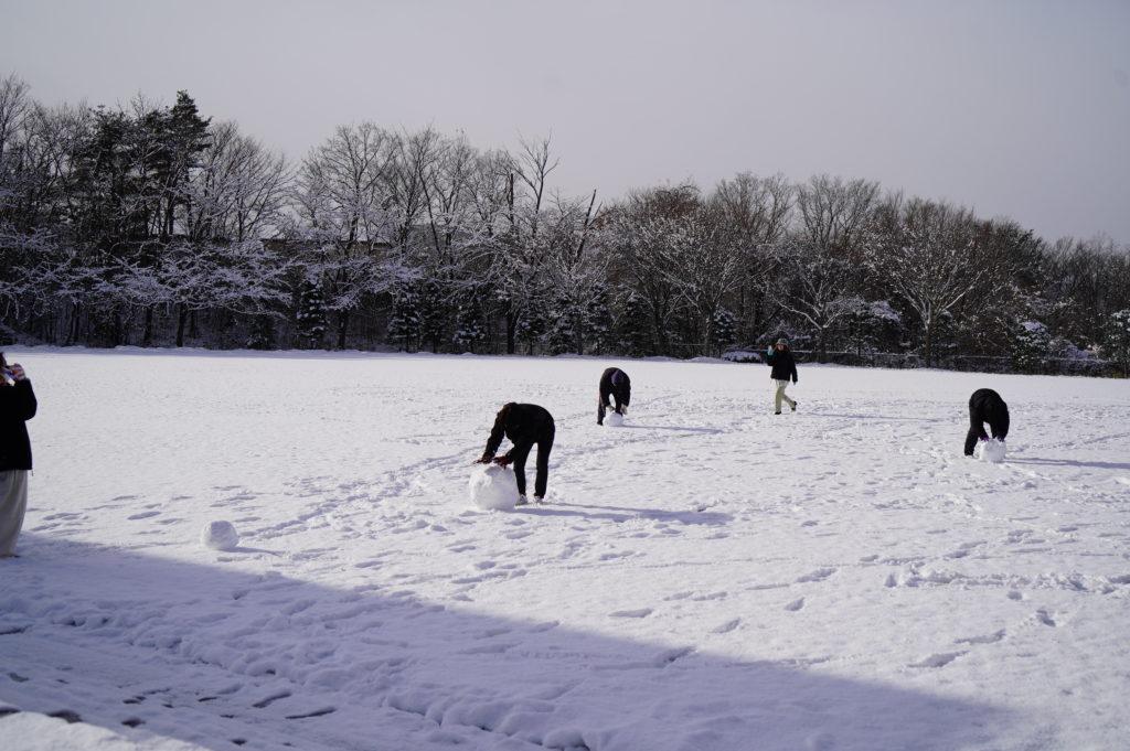 少し晴れ間が見えてきたら早速グランドで雪だるまづくり