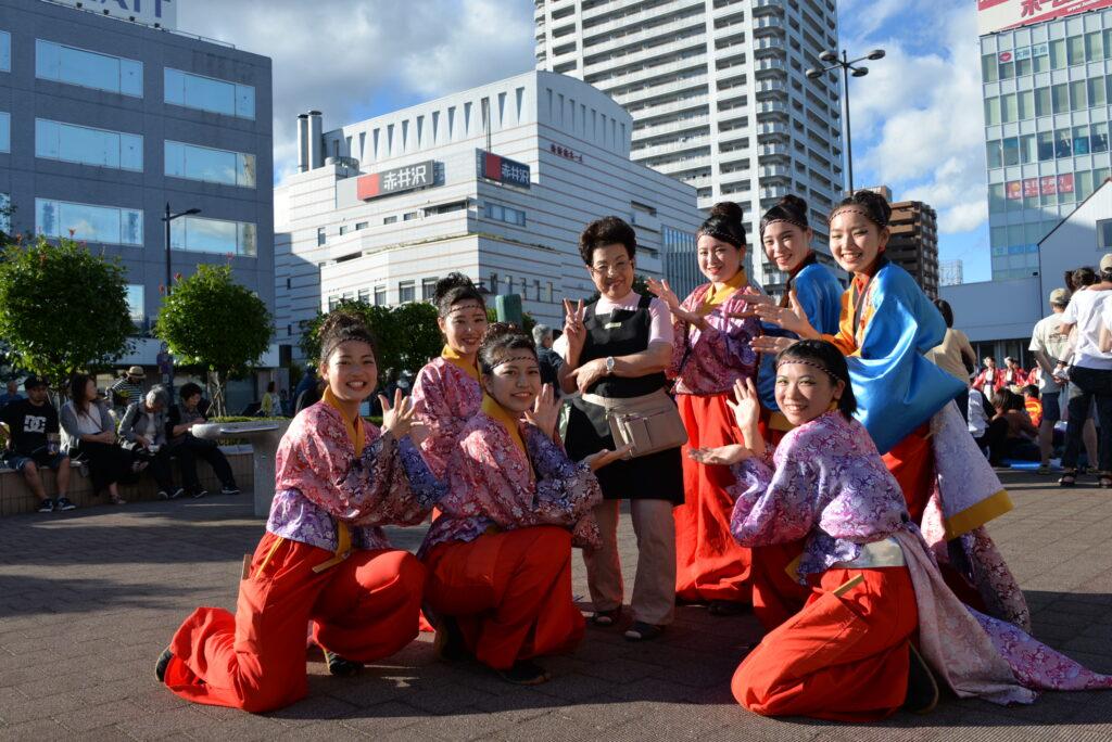 みちのくよさこい長町会場では、長町駅前でお店を開いている赤井沢同窓会長さんも駆けつけていただきました。平成30年10月6日
