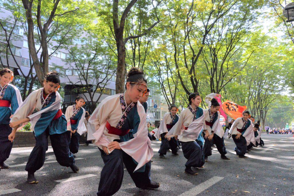 ケヤキ並木が続く定禅寺通りで、みちのくYOSAKOIまつりで流し踊りにも参加、披露しました。平成29年10月8日