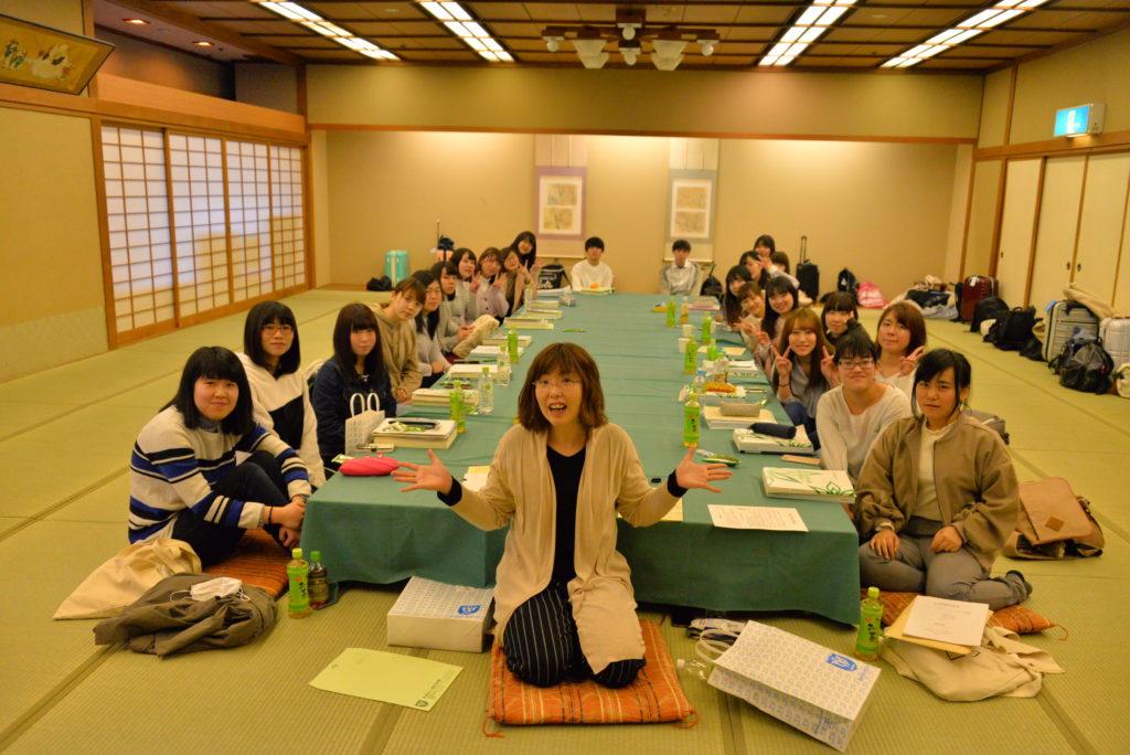 秋保温泉・岩沼屋で開催される一泊オリエンテーションから1コマ。平成29年4月4日