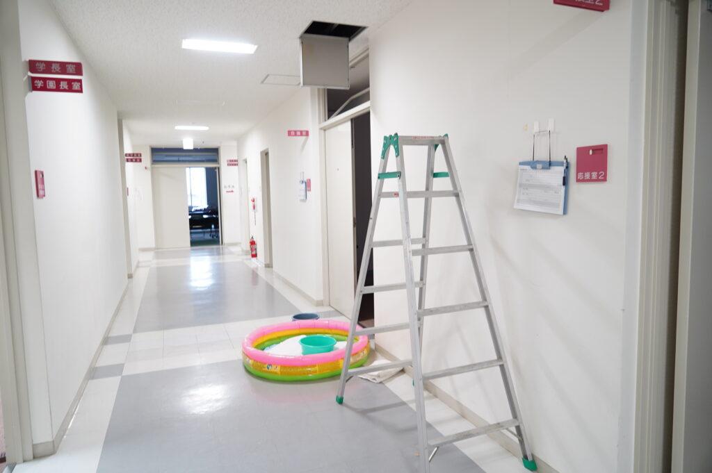 1階会議室前、天井からの漏水