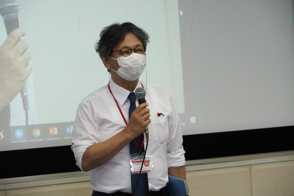 吉川和夫学長より挨拶。4月に就任して以降の印象や短大の魅力を語りました。