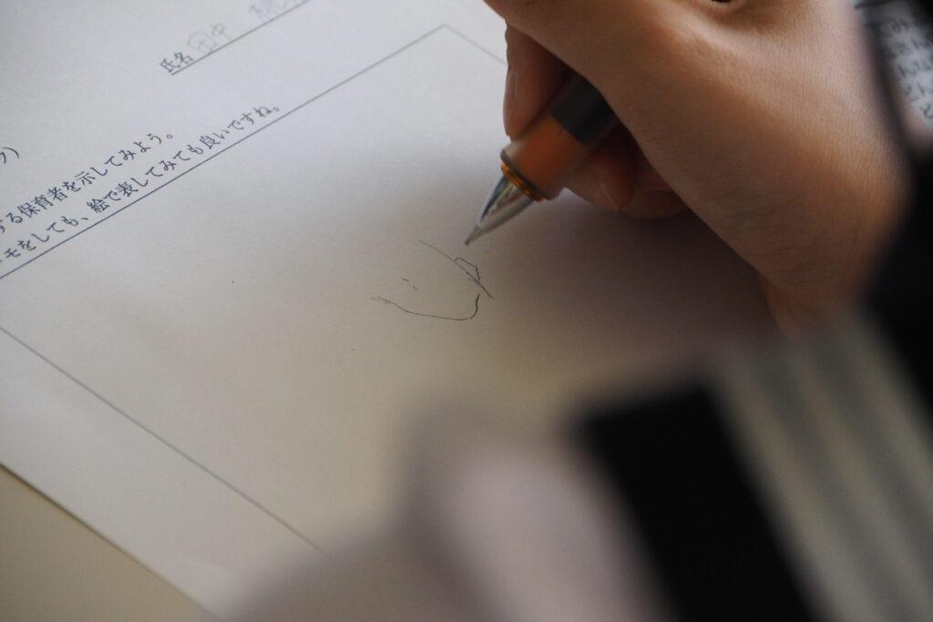 保育者論のワークでは「自分の頭の中の保育者のイメージ」を紙に書き出しました。