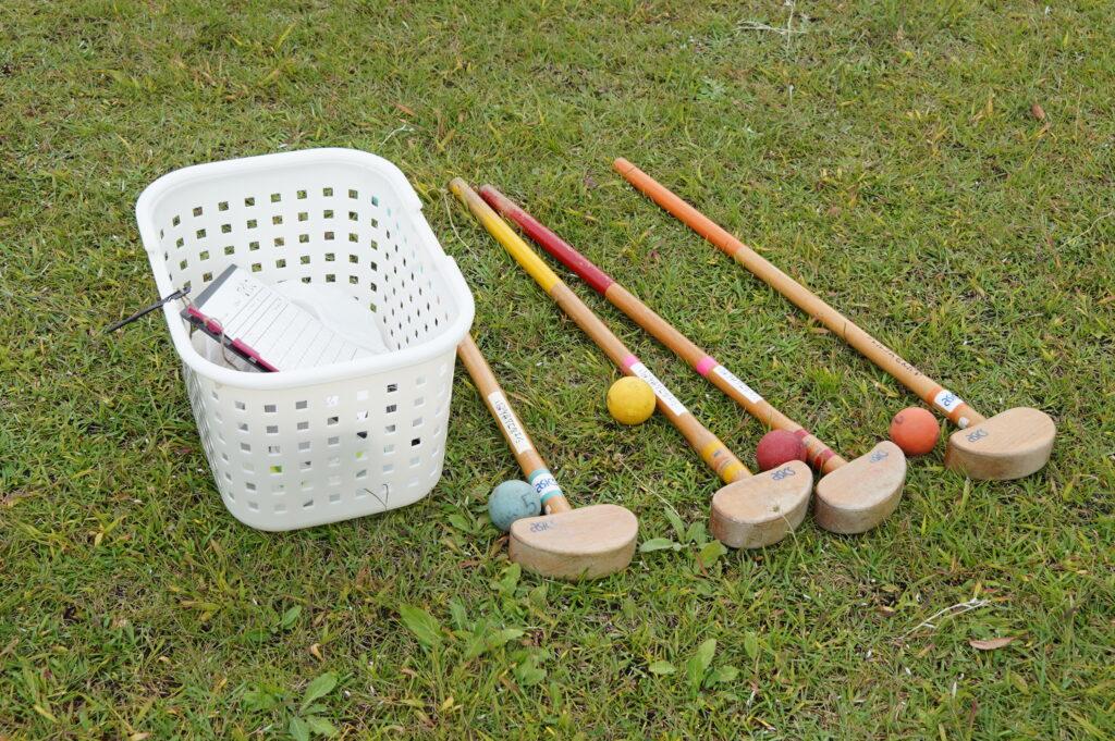 グランドゴルフは木製のクラブを使用し、少し大きめのボールを各ホールに入れる競技です。